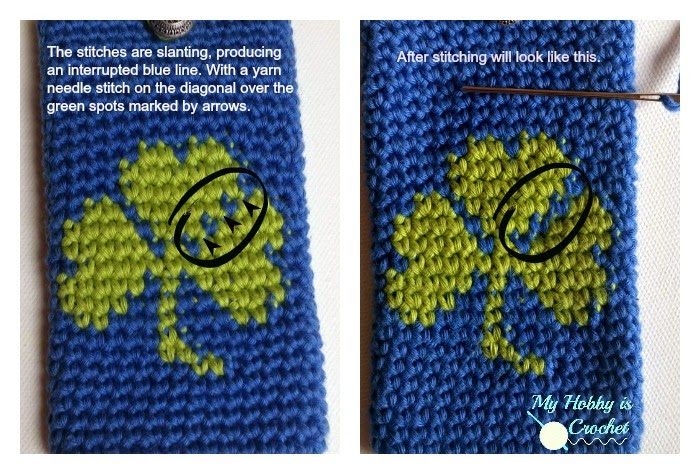 Tapestry Crochet: Shamrock Phone Cover  - Free Pattern: Written Instructions and Graph