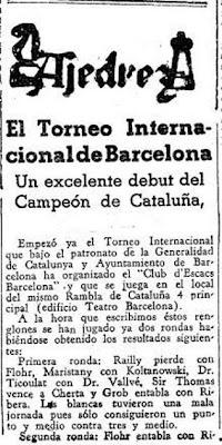 Recorte de prensa sobre el inicio del Torneo Internacional de Ajedrez Barcelona 1935
