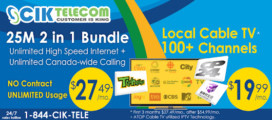 CIK Bundle Promotion – Get 25M FTTN Bundle Plans just at $27.49/month in Ontario.