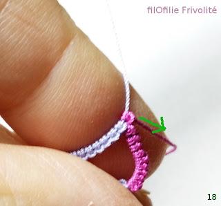 Comment réaliser un anneau fendu (ou split-ring) en frivolité, dentelle aux navettes