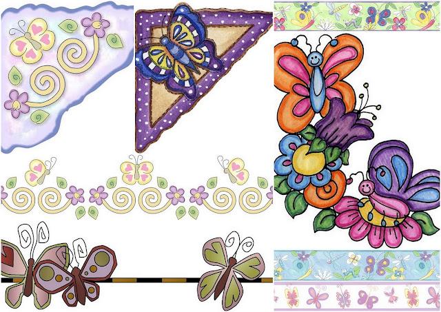 Butterflies: Free Printable Borders and Corners for Weddings, Anniversaries or Engagement Parties.