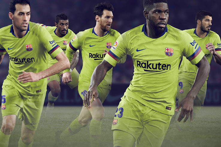 2b8b3c19d The Nike FC Barcelona 18-19 away kit introduces a bright and eye-catching  design in volt