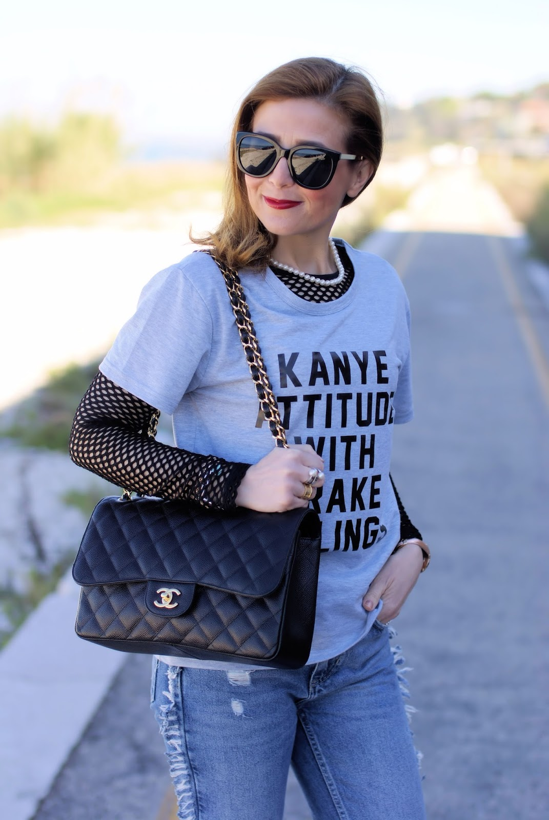 Kanye attitude with Drake feelings fishnet top and Chanel bag on Fashion and Cookies fashion blog, fashion blogger style
