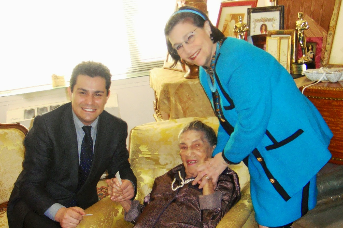 Karen and Saimir with the incomparable soprano LICIA ALBANESE as she celebrated her 100th birthday in 2013