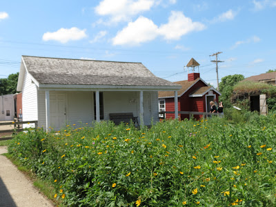 Replica settler's house and schoolhouse at the Laura Ingalls Wilder Museum, with prairie wildflower meadow in foreground.