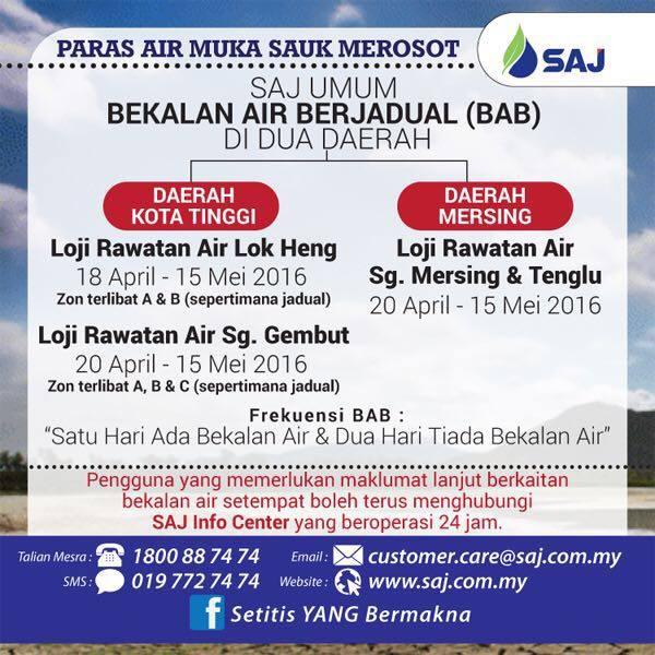 senarai kawasan catuan air Kota Tinggi Dan Mersing Bermula 18 April 2016