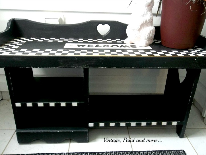 Vintage, Paint and more... bench painted in MacKenzie Child's style with black and white checks
