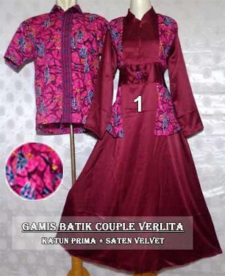 Koleksi Baju Gamis Batik Modern Couple Model Terbaru 2017