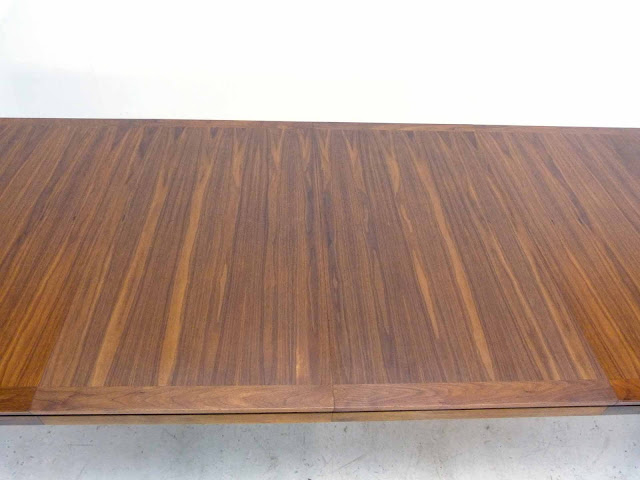 Edward J Wormley Modern Walnut Dining table by Dunbar Leaf Close Up