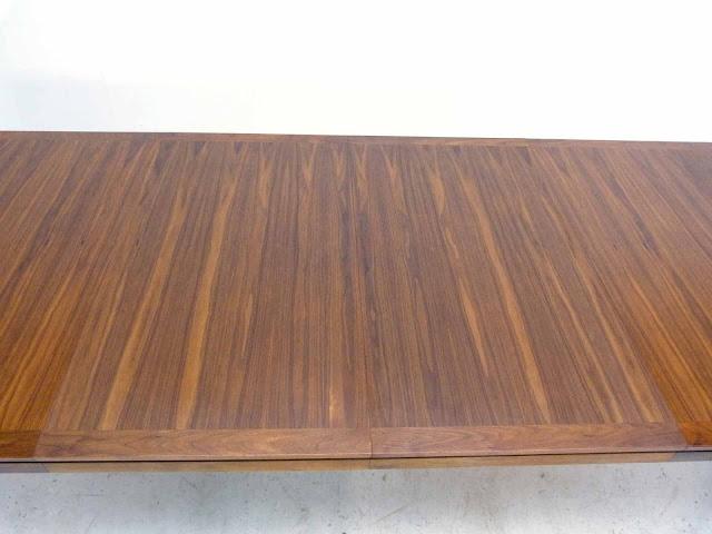 Edward J Wormley Modern Walnut Dining table by Dunbar Leaf Close Up