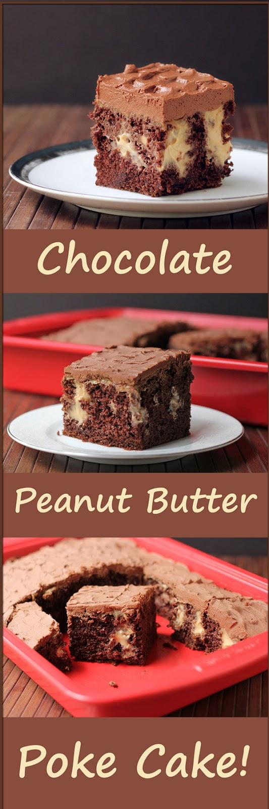 Chocolate and Peanut Butter Pudding Poke Cake