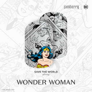 DC Wonder Woman is ready for action in this black-and-white, crime-fighting comic strip-inspired design, 'Save The World' #SaveTheWorldJN.   © DC Comics. (s17) Noel Giger Jamberry