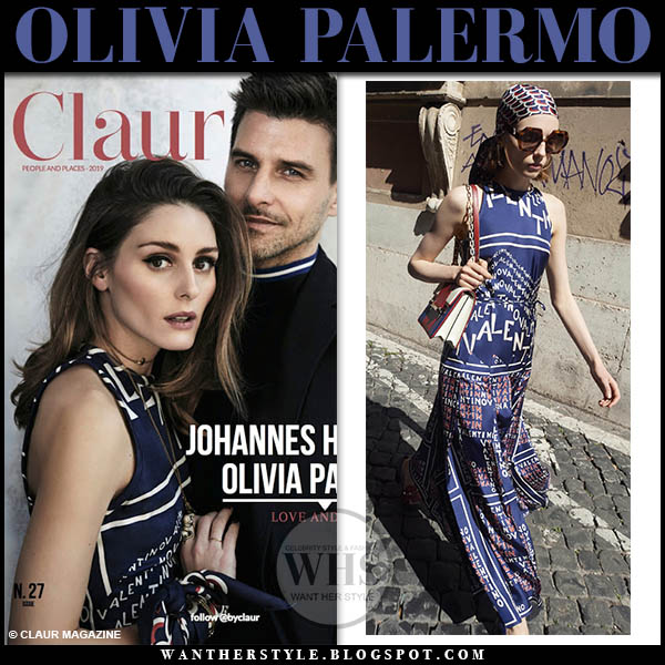 Olivia Palermo in navy blue printed sleeveless silk valentino logo dress spring style claur editorial 2019