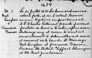 Noel Langlois 1634 marriage record