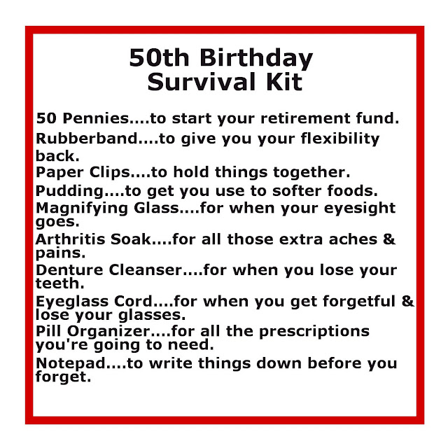 50th Birthday Survival Kit | Delightfully Noted
