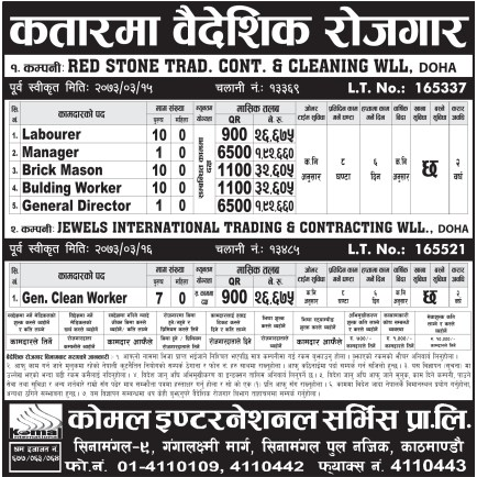 Jobs For Nepali In Qatar, Salary -Rs.1,92,000/