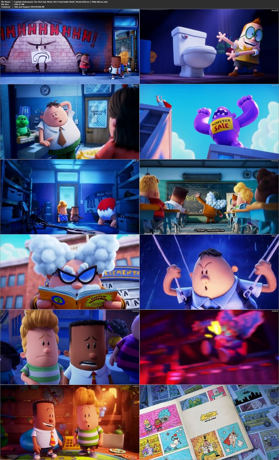 Captain Underpants The First Epic Movie 2017 Hindi Dubbed 297MB BRRip 480p at movies500.site