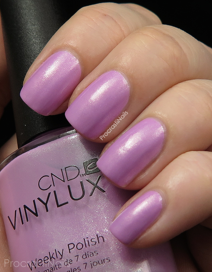 Swatch of Beckoning Begonia from the CND Vinylux Garden Muse Collection