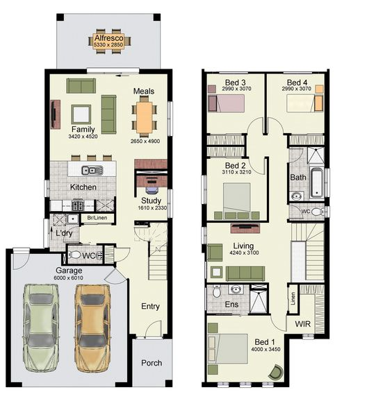 Duplex small house design floor plans with 3 and 4 bedrooms for House plans with double garage