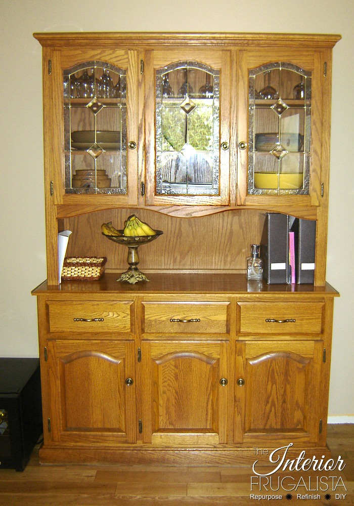 A clever China Cabinet Hack! How to repurpose a small dining hutch into a kitchen pantry AND small kitchen island for a budget kitchen makeover idea.