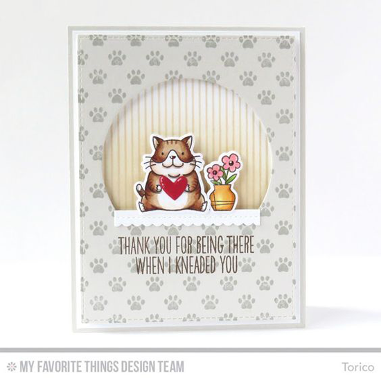 Handmade card from Torico featuring Birdie Brown Cool Cat stamp set and Die-namics, Pinstripe and Paw Print Background stamps, Stitched Arch STAX, Stitched Mini Scallop Square STAX, and Tag Builder Blueprints 5 Die-namics #mftstamps