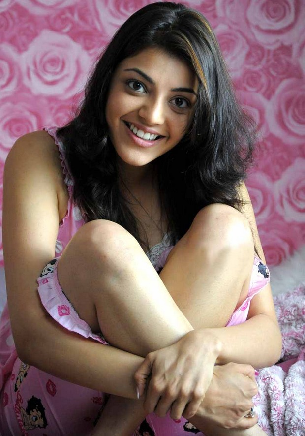 South Indian Actress Kajal Agarwal Smiling Face Without Makeup In Pink Dress