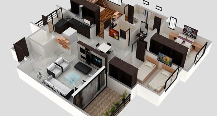 Studio Apartment Floor Plans. 3d Digital Mid Century Modern Studio