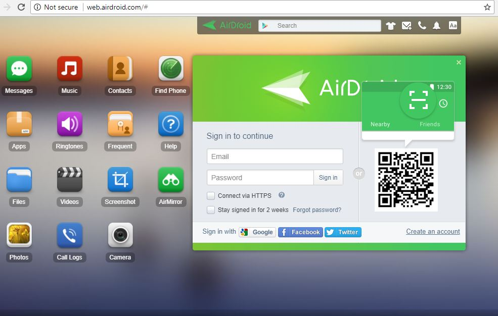 How to use Airdroid on PC using web login platfrom