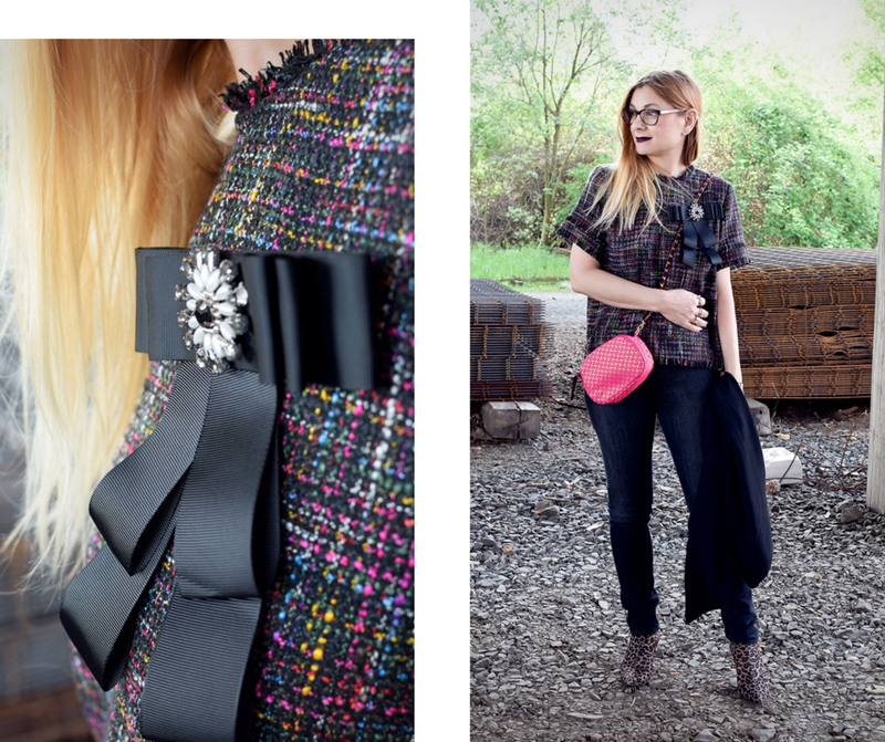 Boucle Oberteil mit Skinny Jeans, Boucle modern kombinieren