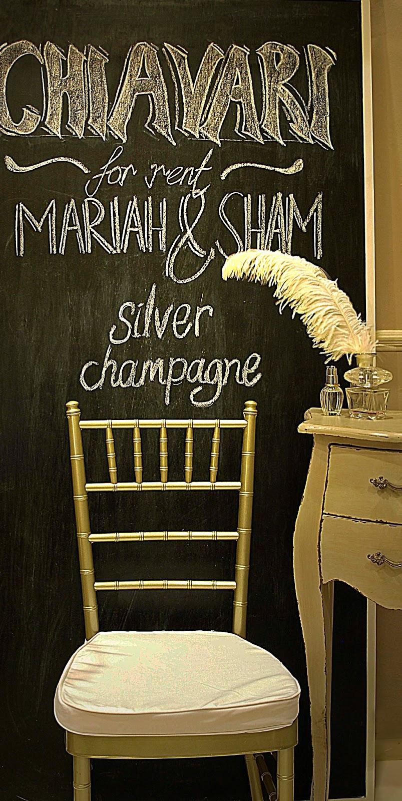 Mariah and Sham: Chiavari / Tiffany chairs rental in Singapore