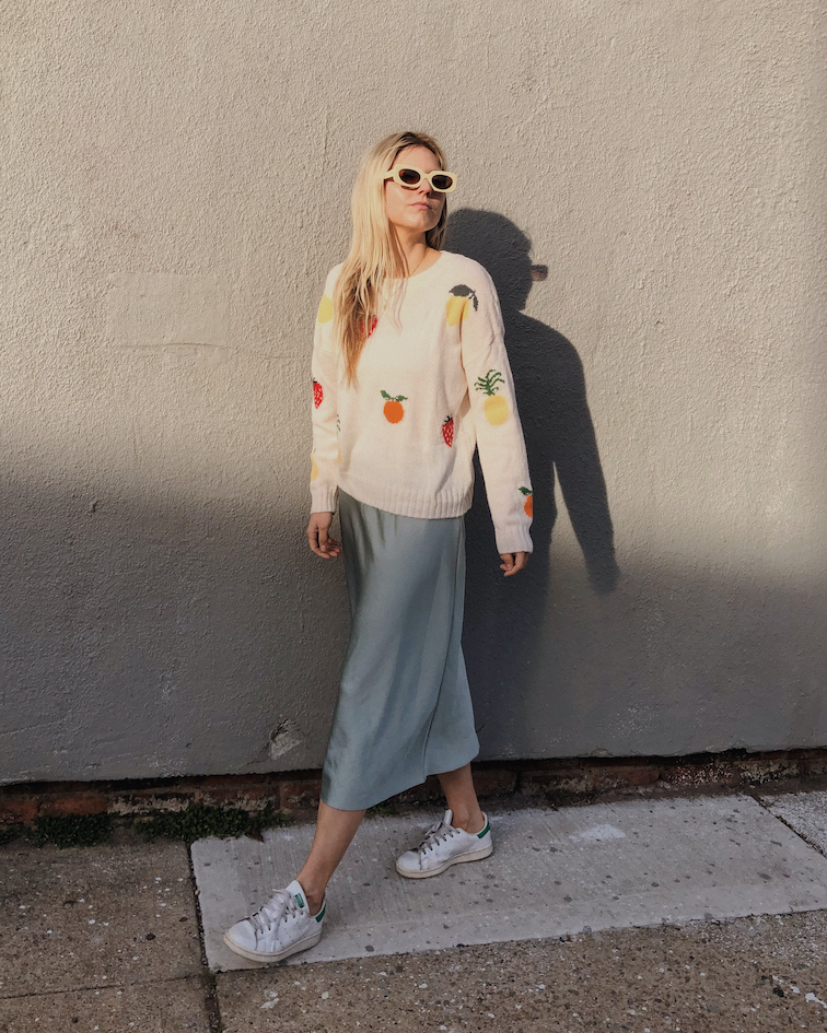 Jenni Kayne slip skirt, Rails fruit knit sweater, adidas stan smith, alyssaxapercu, alyssainthecity apercu eyewear