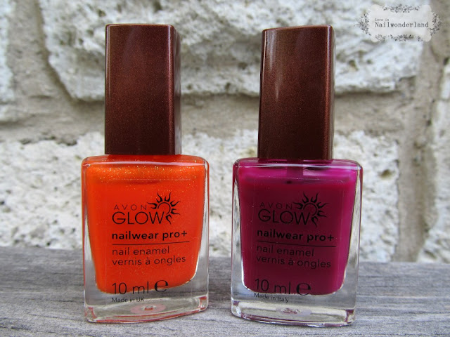 Avon Glow Nail Polish Flaming Orange Plush Berry