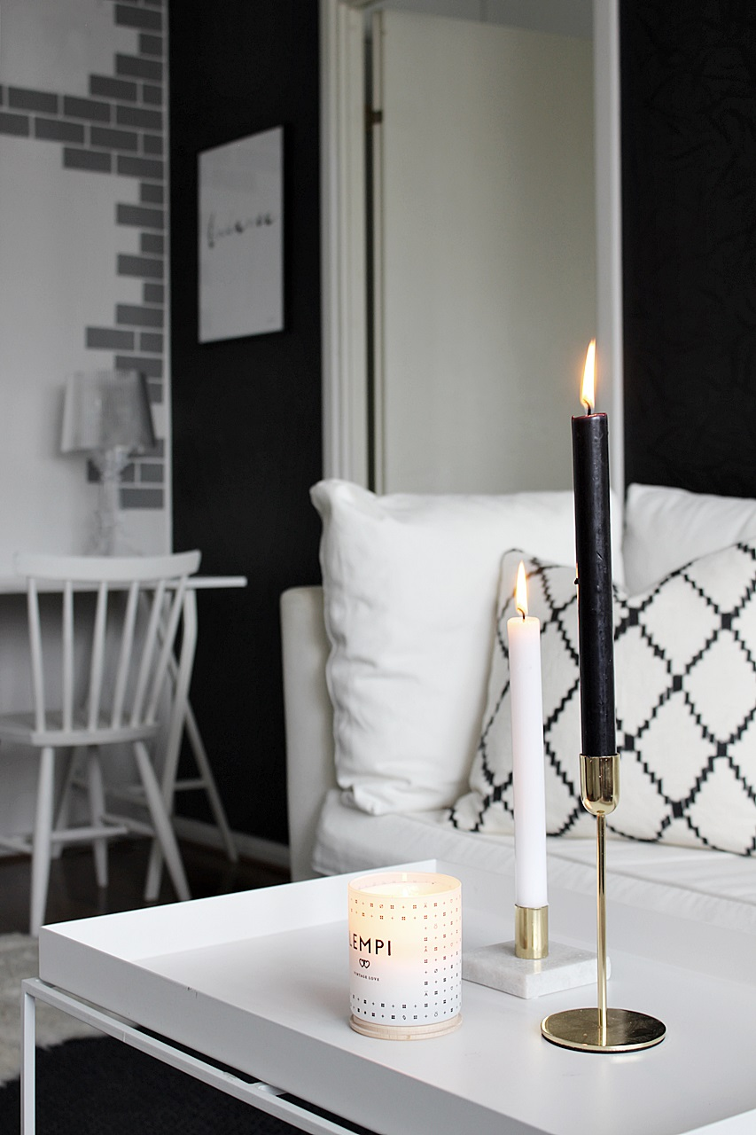 Olohuone Livingroom scandinavian home Chhatwal&Jonsson Ikat Kerela Skandinavisk candle