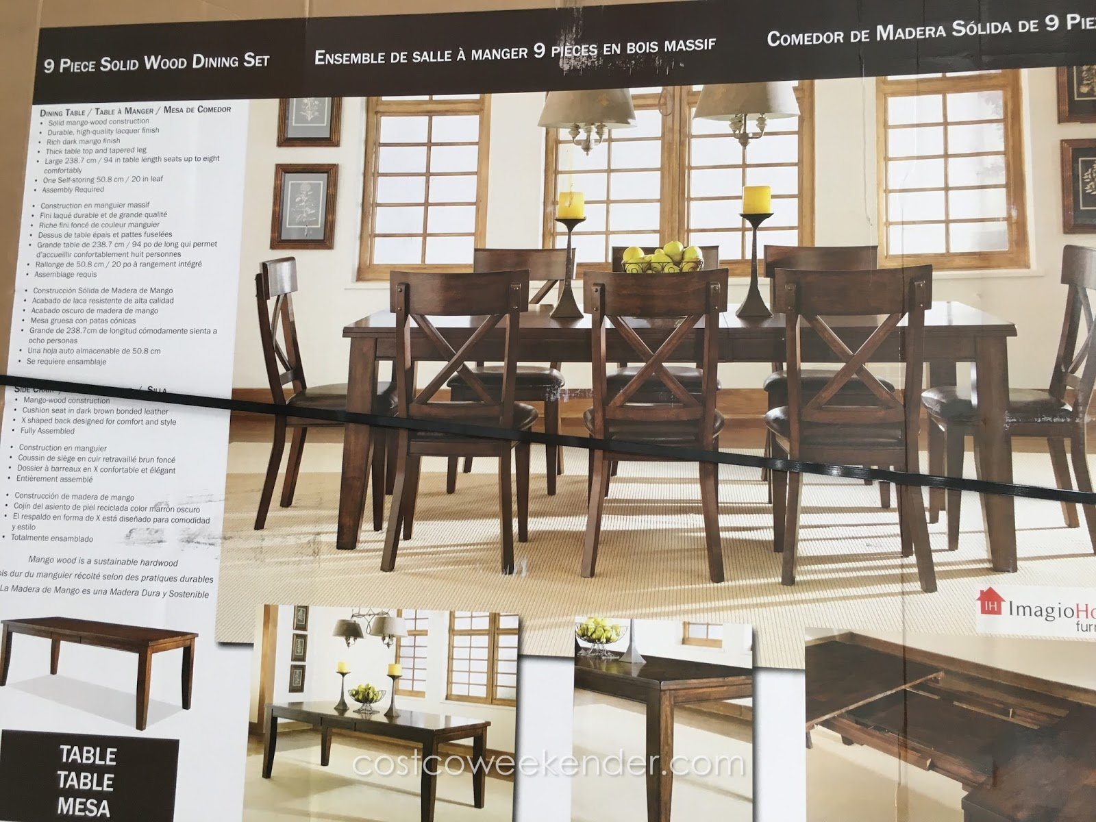 Table A Manger 3M imagio home 9 piece solid wood dining set | costco weekender