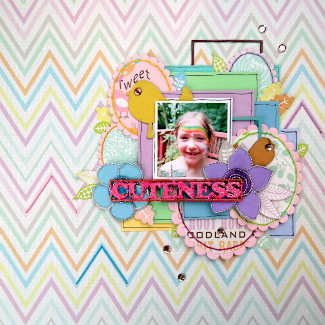 Cuteness Scrapbook Layout by Dana Tatar for FabScraps - Woodland Friends Collection