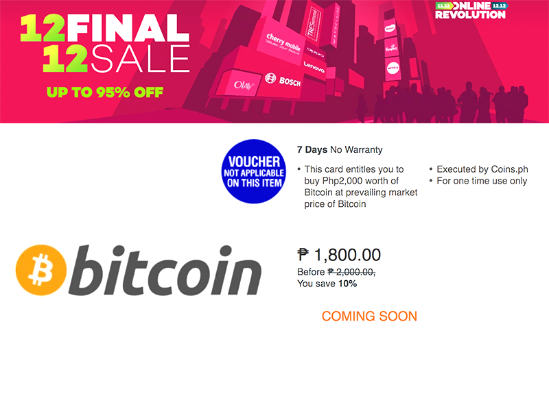 Sale Alert: Lazada is having a Bitcoin Sale with Coins.PH!