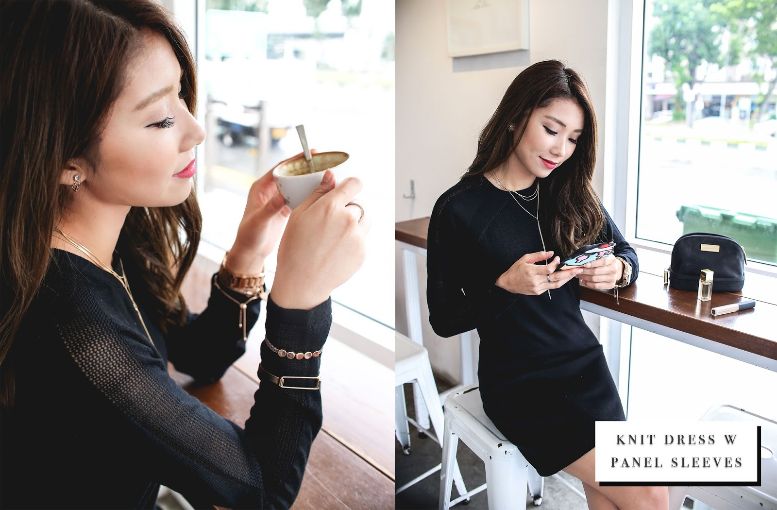 Shop-knit-black-dress-sheer-sleeve-panel