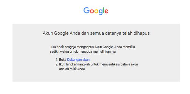 Data Google Telah Terhapus