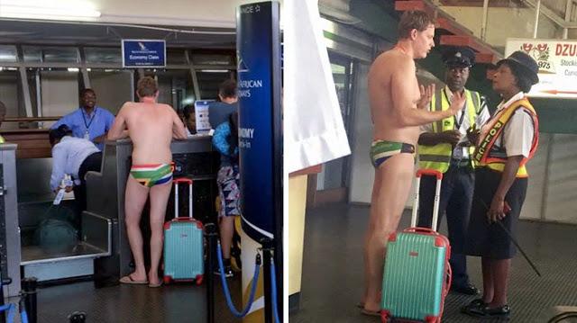 Pria Ini Check-In di Bandara Cuma Pakai Celana Dalam dan Sandal Jepit, Alasannya