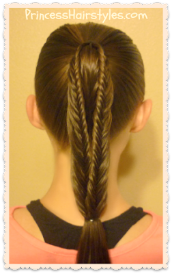 Fishtail braid ponytail using lace braids.