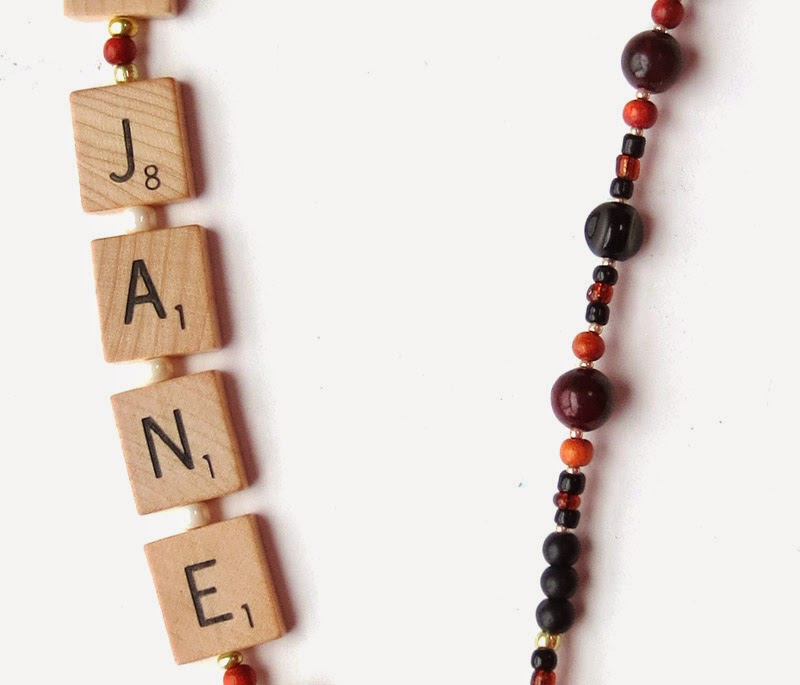 lanyard made with Scrabble tiles