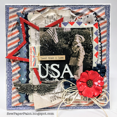 Frilly and Funkie: Airmail Challenge by SewPaperPaint #mixedmedia #timholtz #cardmaking #ideaology #sizzix #spellbinders #starsandstripes #stars #patriotic #4thofjuly #american #foundrelatives #vintage #diecut #cards #primamarketinginc #finnabair #finnabairmechanicals #poppy #sewpaperpaint #autumnclark