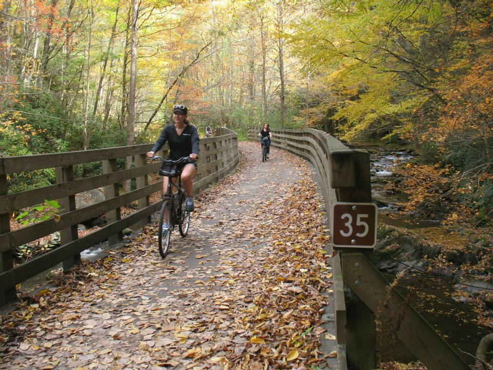 Amy West bikes the Virginia Creeper Trail