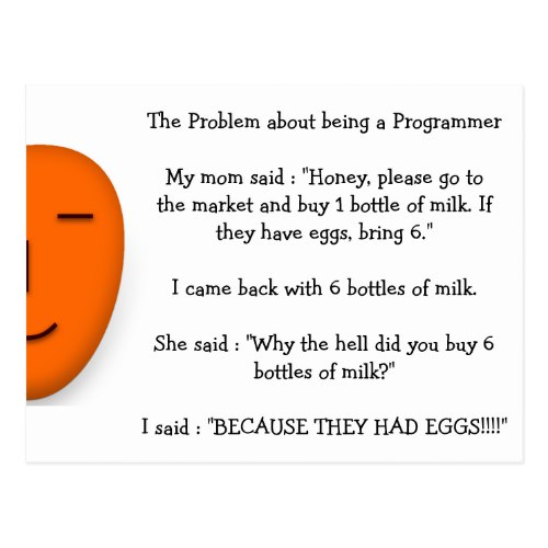 Problem About Being a Programmer | Funny Joke Postcard