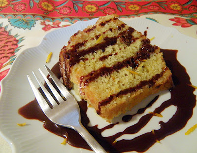 Lemon Cake Drizzled with Chocolate Sauce