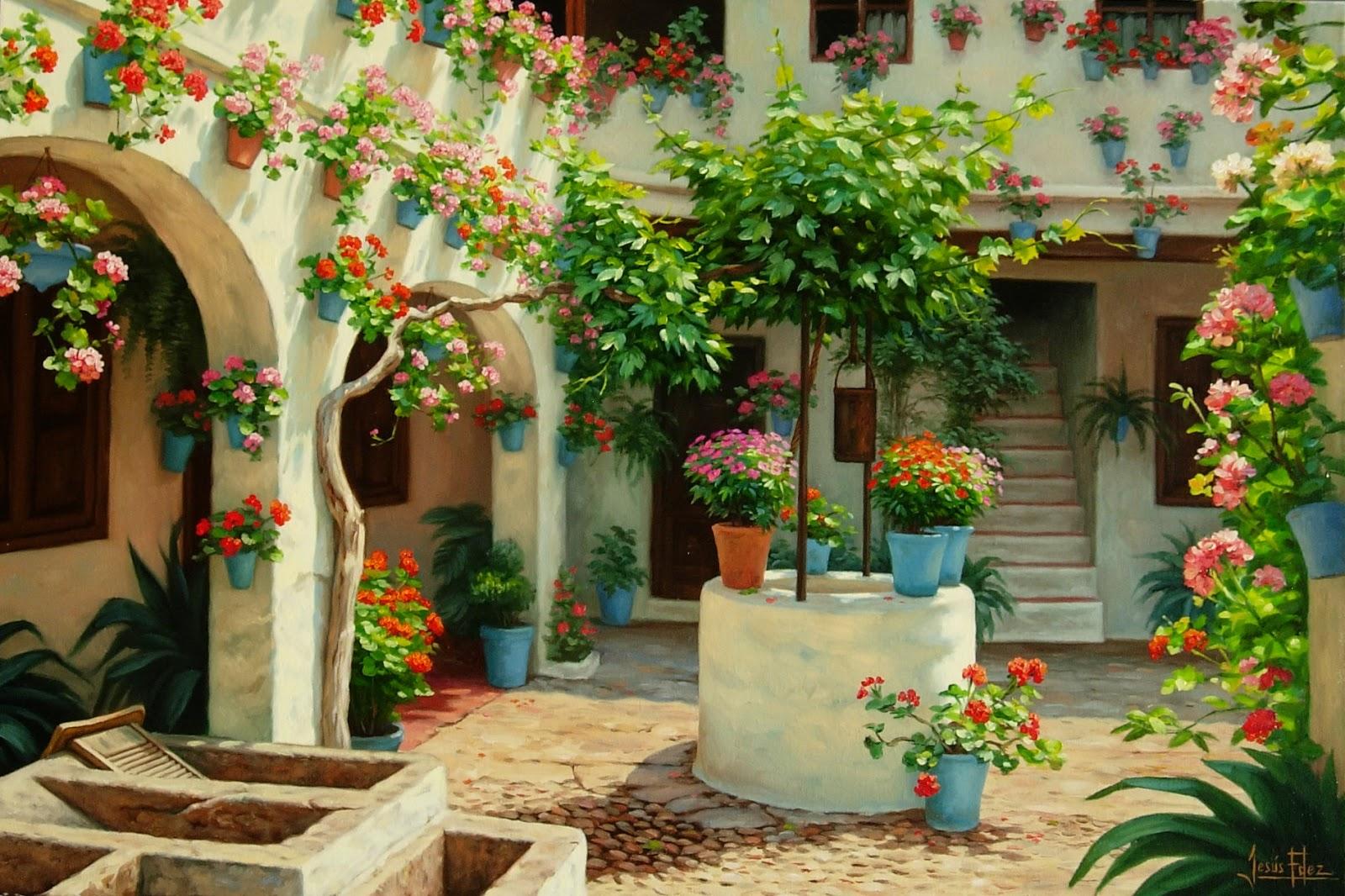 Jes s fern ndez pintor patio cordob s con pozo - Cuadros estilo colonial ...