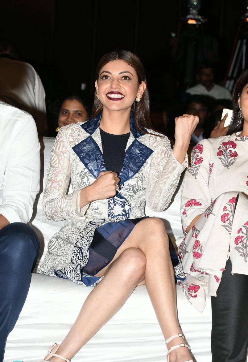 Kajal Aggarwal Legs Thighs Show In White Dress At Movie Audio Launch
