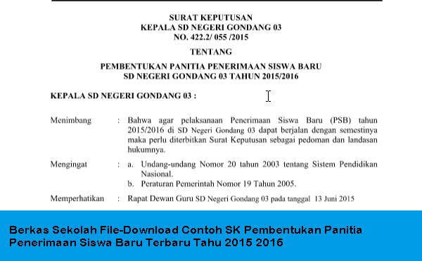 Berkas Sekolah File-Download Contoh SK Pembentukan Panitia Penerimaan Siswa Baru Terbaru Tahu 2015 2016