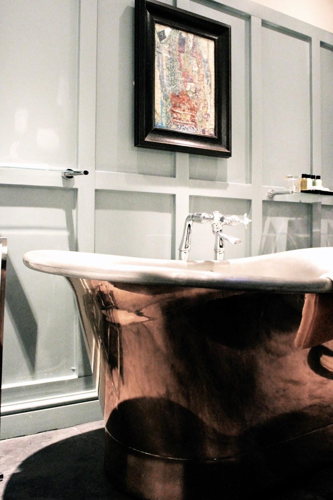 Copper roll-top bath at hotel