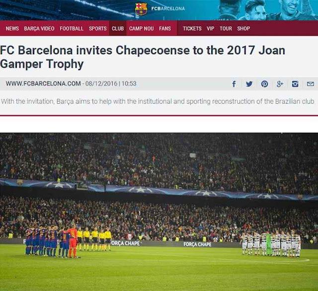 Barcelona convida a Chapecoense para a disputa do Troféu Joan Gamper na próxima temporada
